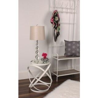 Marea Round Ivory Metal Mirrored Accent Side Table