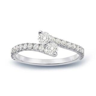 Auriya 14k Gold 1/2ct TDW Round 2-Stone Diamond Engagement Ring