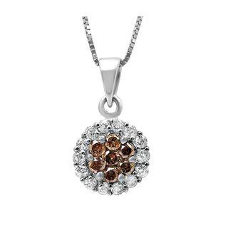 Noori 14k Gold 1/2ct TDW Brown Round Diamond Flower Necklace (H-I, I1-I2)