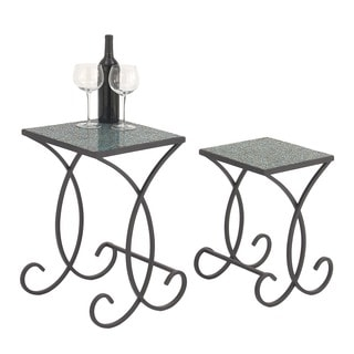 Urban Designs Black Metal Emerald Square Mosaic Nested Accent Tables (Set of 2)
