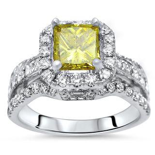 Noori 18k Gold 2 2/5ct TDW Canary Yellow Princess-cut Diamond Engagement Ring - White