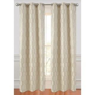Ellen Tracy Ivory/White/Silver Luxurious Interlock Curtain Panel Pair