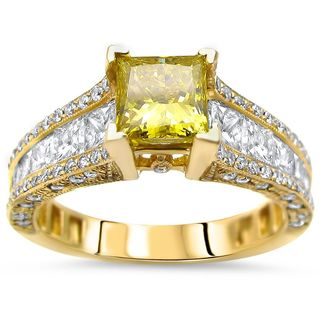 Noori 14k Gold 2 2/5ct TDW Canary Yellow Princess-cut Diamond Engagement Ring