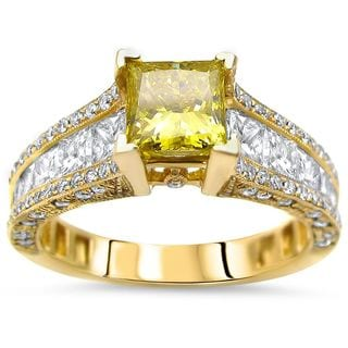 Noori 14k Gold 2 2/5ct TDW Canary Yellow Princess-cut Diamond Engagement Ring (G-H, SI1-SI2)