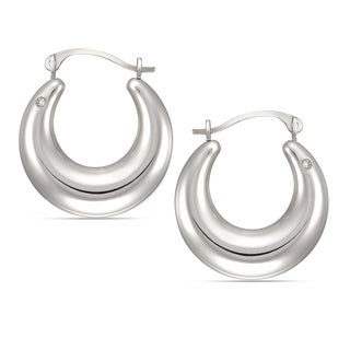 Forever Last 10K White Gold Graduated Round Hoop Swarovski Element Crystal Earrings
