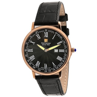 Steinhausen Classic Men's S0120 Altdorf Swiss Quartz Rose Gold-Tone Black Leather Band Watch