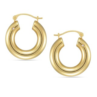 Forever Last 10k Yellow Gold Austrian Crystal Accent Tube Hoop Earrings