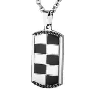 Mens Stainless Steel Checkered and Black Cubic Zirconia Dog Tag