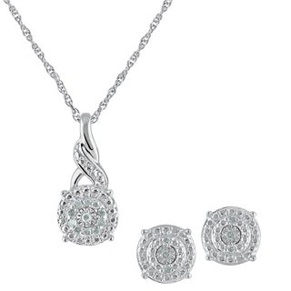 Silver Diamond Pendant and Earring Box Set IJ I2I3