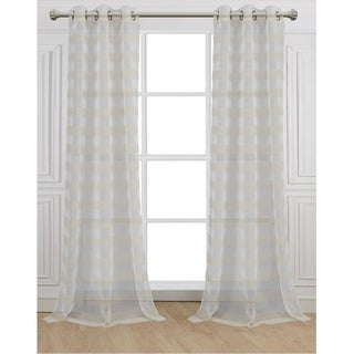 Cabana WhiteStriped Linen-look Panel (Set of 2)