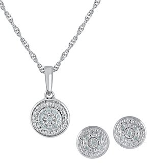 Sterling Silver IJ I2-I3 Diamond Penant and Earrings Boxed Set