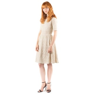 DownEast Basics Women's Paris Beige Cotton Lace Dress