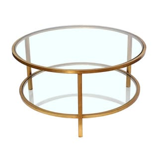 Teton Home Af-119 Two-Tiered Goldtone Metal and Glass Coffee Table