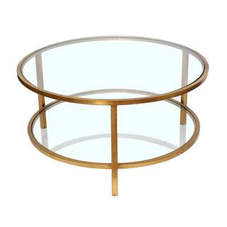 Safavieh Arlene Antique Gold Leaf Coffee Table Free