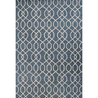 """Jade Navy/Teal Wool Area Rug (5' x 7'6"""")"""