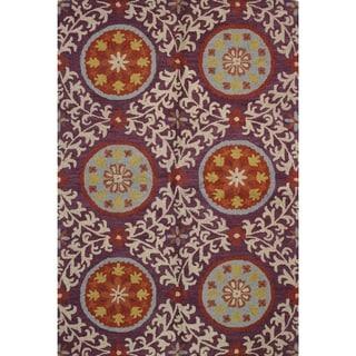 "Tufted Red/Blue/Cream/Yellow Wool Julia Area Rug (5' x 7'6) - 5' x 7'6"""
