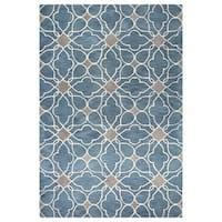 Blue/Grey Wool Kiara Hand-tufted Area Rug - 5' x 8'
