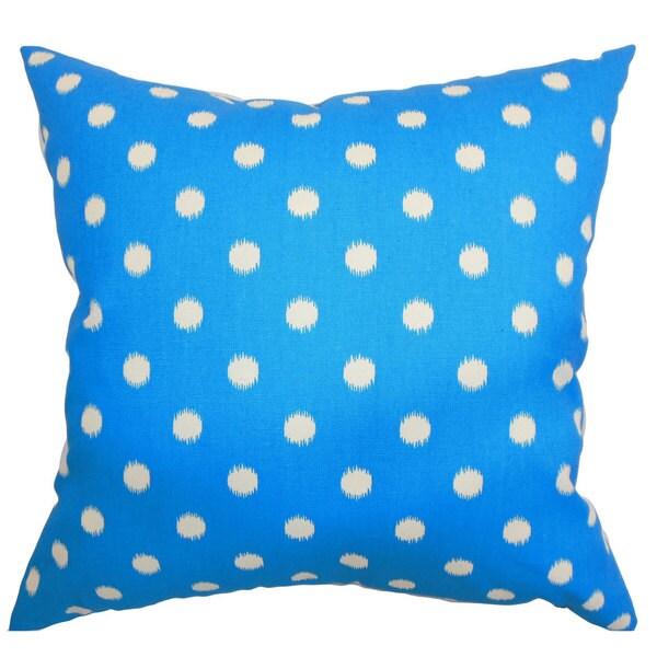 Rennice Ikat Dots Euro Sham Grasshopper Blue Natural