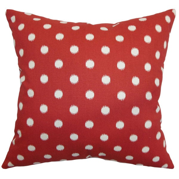 Rennice Ikat Dots Euro Sham Primary Red Natural