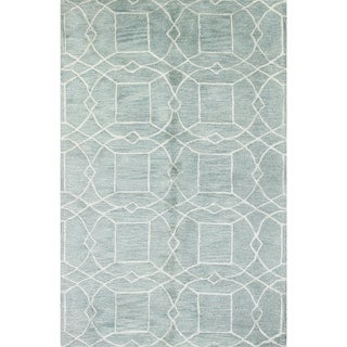 Ian Aqua Cotton/Wool Tufted Area Rug (9' x 12')
