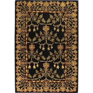Erin Gold/Black Wool Tufted Area Rug (9' x 12') - 9' x 12'