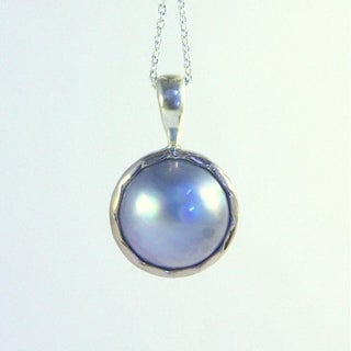 mabe pearl pendant on adjustable silver necklace