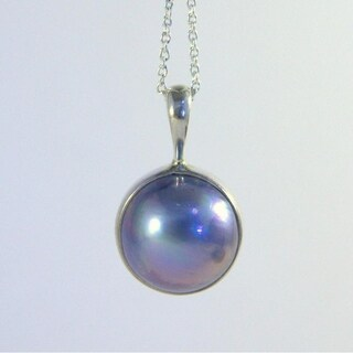 Black Mabe Pearl Pendant on Adjustable Silver Necklace