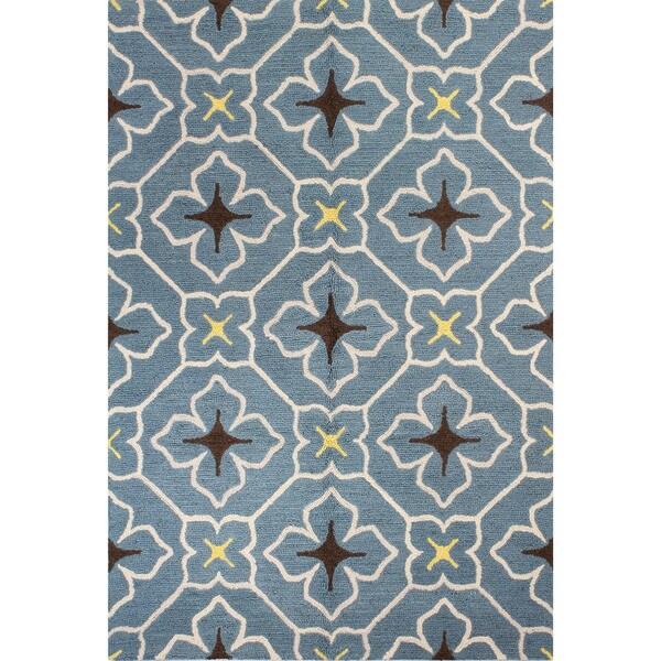 Shop Alexandra Grey/Navy/Teal Wool Tufted Area Rug