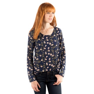 DownEast Basics Women's Zurich Multicolored Polyester Print Blouse