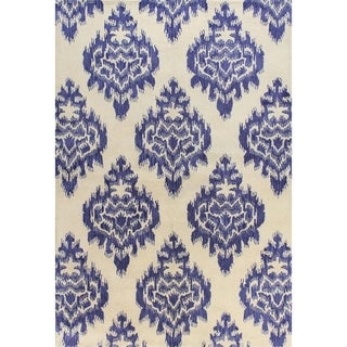 Kelly Ivory/Blue Cotton/Wool Tufted Area Rug (9' x 12')