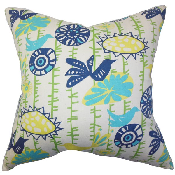 Nettle Floral Euro Sham Yellow Blue