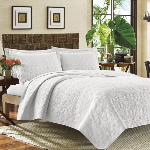 Tommy Bahama White Catalina Cotton Quilt Set