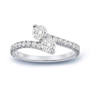 Auriya 14k Gold 1ct TDW Round 2-Stone Diamond Engagement Ring
