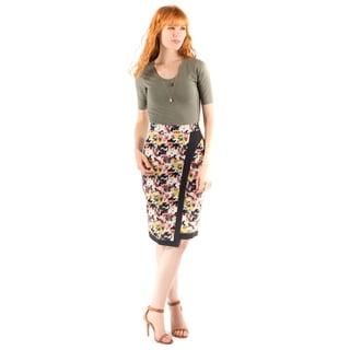 DownEast Basics Women's Monaco Multicolor Spandex and Cotton Asymmetric Skirt