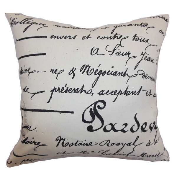 Saloua Typography Euro Sham Onyx Natural