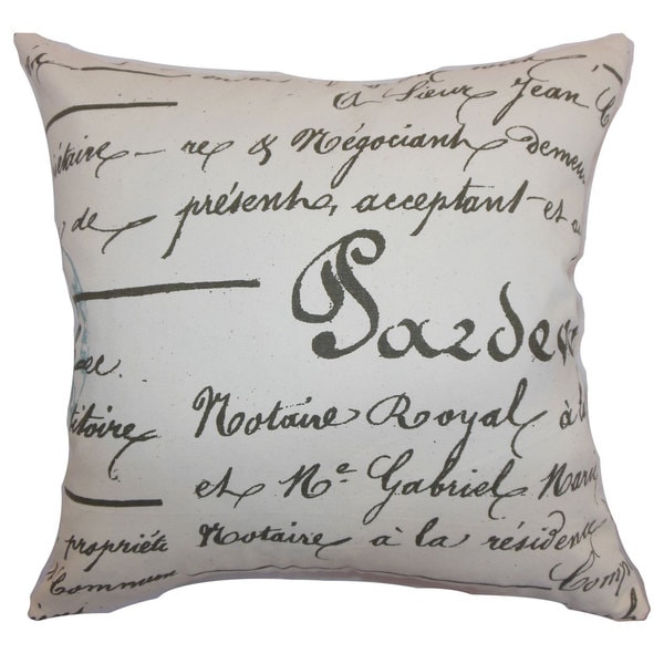 Saloua Typography Euro Sham Village Blue Natural