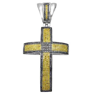 Noori 10k Gold 2ct TDW Blue and Yellow Diamond Cross Charm Pendant Necklace (I2-I3)