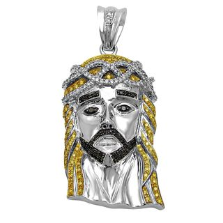 Noori 14k Gold 3 1/4ct TDW Canary Yellow and Black Diamond Jesus Face Charm Necklace (I-J, I1-I2)