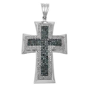 Noori 10k Gold 4ct TDW Blue Diamond Cross Charm Pendant Necklace (J-K, I2-I3)