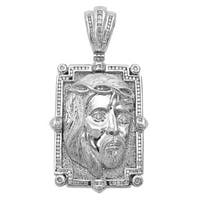 Noori 14k Gold 2 1/2ct TDW Diamond Jesus Face Charm Pendant Necklace (J-K, I2-I3) - White