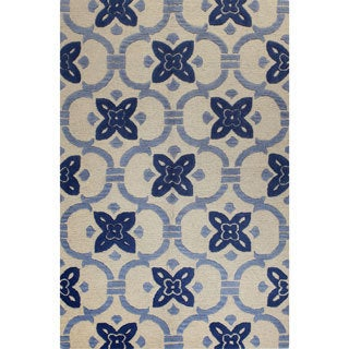 Laura Blue/Grey/Off-white Wool Tufted Area Rug (9' x 12')