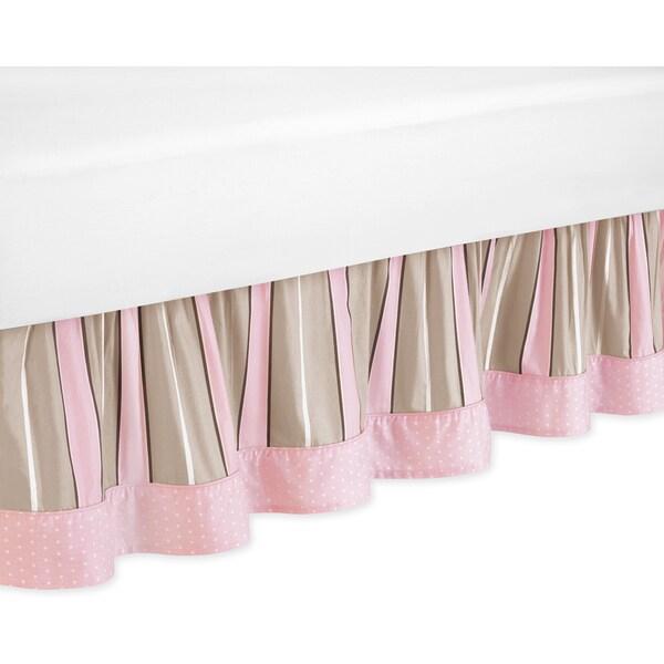 Sweet Jojo Designs Pink and Chocolate Mod Dots Toddler Bedskirt