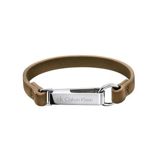 Calvin Klein Hook Women's White Stainless Steel/Leather Fashion Bracelet