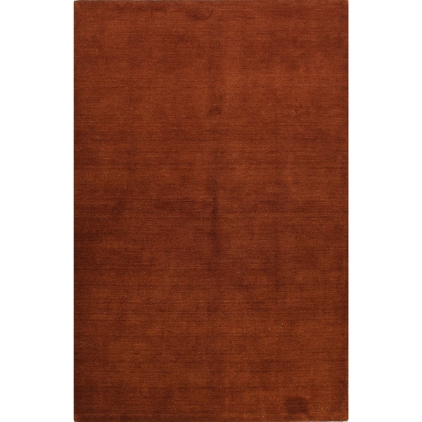 Bria Rust Colored Woven Wool Area Rug 5 X27