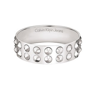 Calvin Klein Studs Women's Leather/Stainless Steel Fashion Bracelet