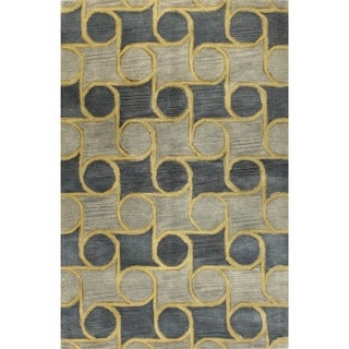 Sabrina Blue Wool Tufted Area Rug (5' x 8') - 5' x 8'