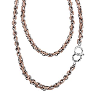 Calvin Klein Base Women's Black/Pink Stainless Steel/Leather Fashion Necklace