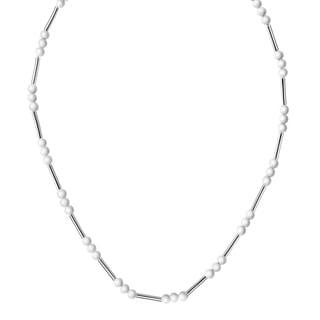 Calvin Klein Chaplet Stainless Steel White Bead 15.5-inch Women's Fashion Necklace