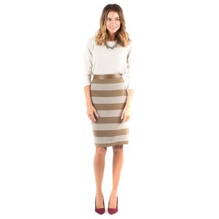 DownEast Basics Women's Athens Brown Stripe Skirt
