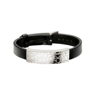 Calvin Klein Logo Women's Sterling Silver and Black Leather Fashion Bracelet